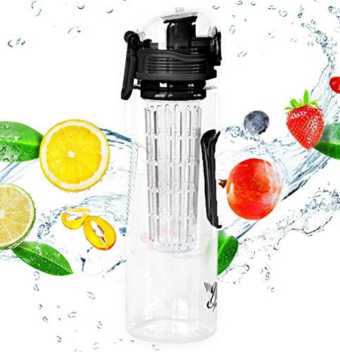 Danum 23 oz Fruit Infuser Water Bottle with Recipe eBook Black