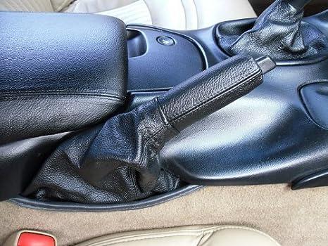 RedlineGoods ebrake Boot Compatible with Chevrolet Corvette C5 1997-04 Black Leather-Blue Thread