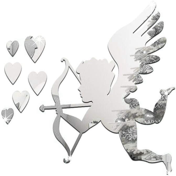Miroir Cupidon Sticker Argent Acrylique Dieu de lamour Miroir Autocollant D/écoration Miroir Cupidon 3D Decal