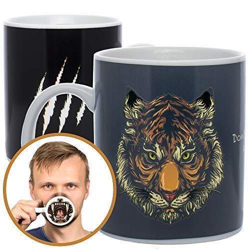 InGwest Home. Funny Coffee Mug with Lion. 11 ounce. Changing Color Mug for you and your friend. Ceramic Heat Sensitive Color Changing Coffee Mug. Novelty Heat Sensitive Mug. Don't make me angry