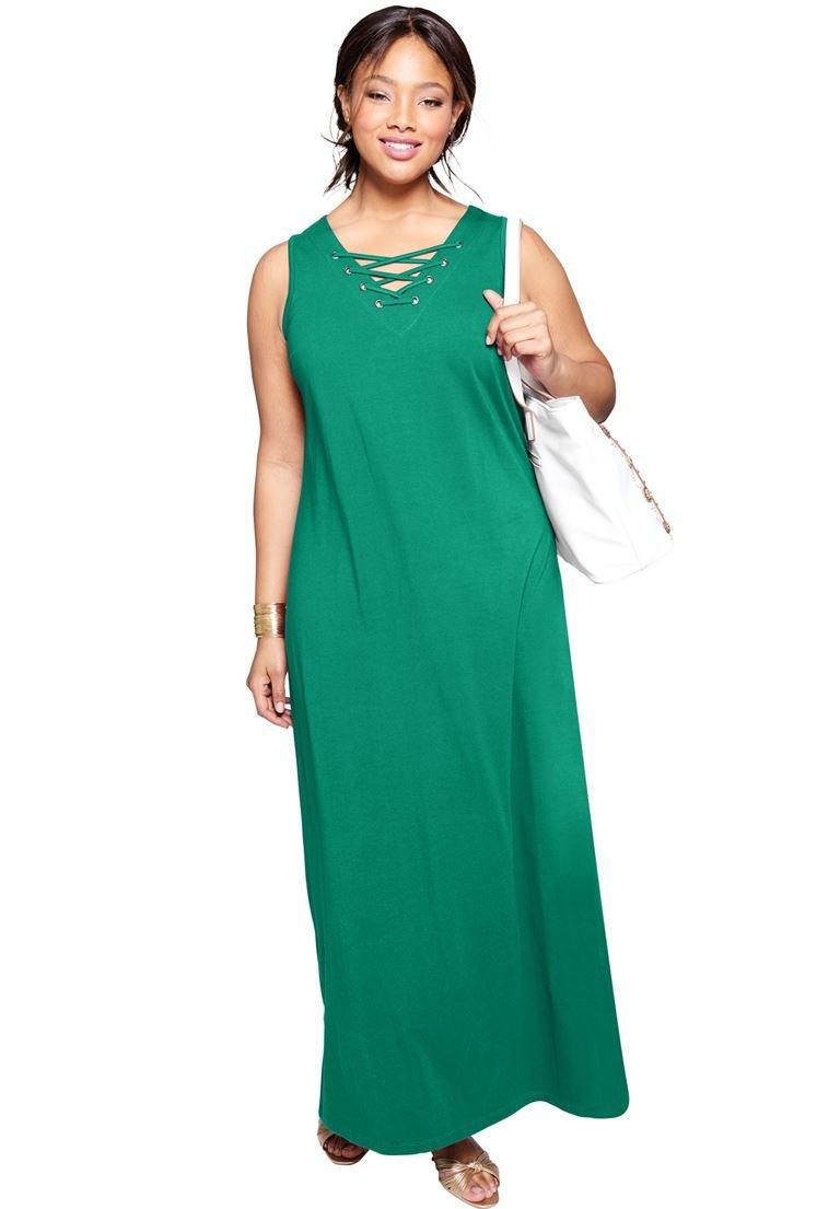 Jessica London Women's Plus Size Tall Lace Up Tank Maxi Dress Green Jade,22 W