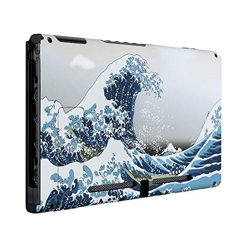 eXtremeRate Soft Touch Grip The Great Wave Console Back Plate DIY Replacement Housing Shell Case for Nintendo Switch Console with Kickstand - JoyCon Shell NOT Included
