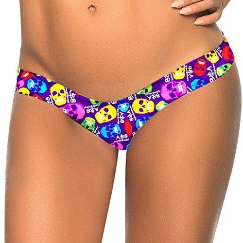 donna Bikini Costumi brasiliano Viola da Spiaggia Brasiliane fondo Bottom Da bagno spiaggia bagno Tronchi Costume Balneazione da perizoma Thong Nuoto Bagno da Bikini feiXIANG stampa Donne RU4600