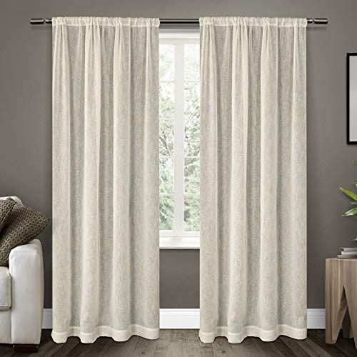 Exclusive Home Curtains Belgian Textured Linen Look Jacquard Sheer Rod Pocket Curtain Panel Pair, 50×96, Snowflake, 2 Piece