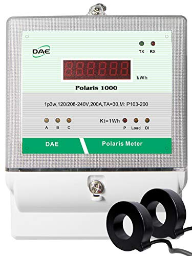 DAE P103-200-S KIT, UL Listed, kWh Smart Submeter, Polaris 1000, 1P3W(2 hot wire, 1 Neutral), 200A, 120/240V, 2 CTs (inner dia. 1.02