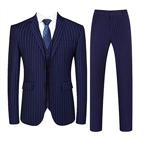 (Mens 3 Piece Pinstripe Suit Slim Fit Casual Dress Suits Blazer + Vest + Pants US Size 30 (Asian Size M) Navy)