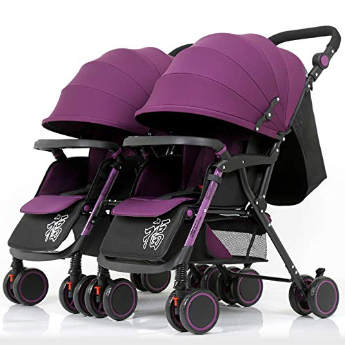 Twins and Twin Strollers- Tandem Double Pushchair from Birth- Reversible Seat Convertible to Carrycot- Lightweight with Convertible Bassinet Stroller,Purple Color Tube