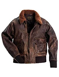 The Aviator Brown Vintage Leather Jacket Retro Cafe Racer Biker Motorcycle