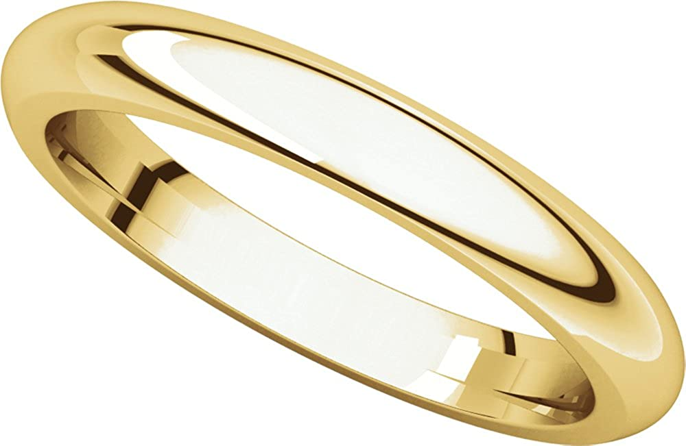 Mens 14K Yellow Gold 3mm Comfort Fit Domed Wedding Band Ring