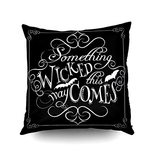 Capsceoll Something Wicked Chalkboard Halloween Decorative Throw Pillow Case 16X16Inch,Home Decoration Pillowcase Zippered Pillow Covers Cushion Cover with Words for Book Lover Worm Sofa Couch