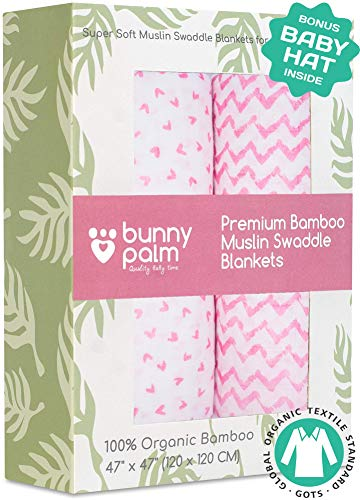 (Muslin Swaddle Blankets - Organic Bamboo Set of 2 Baby Blanket - Large Nursery Swaddle Wrap in Pink Hearts and Chevrons - Receiving Blankets for Newborn Girl)