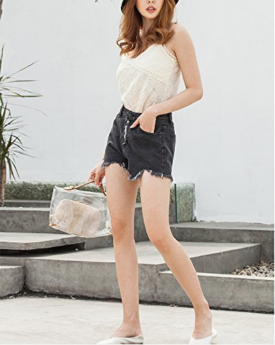 Donna Denim Nero Jeans Pantaloncini Pants Domorebest Hot Eq4zRAwnx