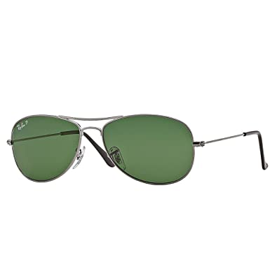 Ray-Ban COCKPIT - GUNMETAL Frame CRYSTAL GREEN POLARIZED Lenses 59mm Polarized