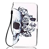 LG K10 Case, NOKEA [Anti-Scratches] [Drop Protection] [Kickstand] Slim Fit with Sling Flip Premium Protective PU Wallet Leather Cover For LG Premier LTE L62VL L61AL (Skeloton Flower)