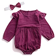 Zefeng Infant Baby Girl Twins Long Sleeve Ruffles Romper Bodysuit Outfit Clothes (0-6 Months)
