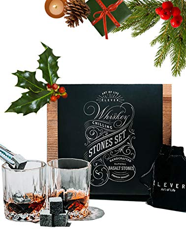 Whiskey Stones and Whiskey Glass Bar Accessories Gift Set - Chilling Rocks, 2 Drinking Glasses, Tongs - Best Personalized Whiskey Glasses Birthday Gifts for Men, Bourbon, Scotch, Wine, Vodka - ()