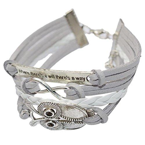 Clearance ! Bracelet, Fitfulvan 2018 Fashion Unique Owl Handmade Leather Braid Fashion Bracelet Jewelry (White) - White Circular Bracelets