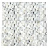 Wallandtile Carrara Interwoven Polished Mosaic Tile, 12''x12'', Set of 10