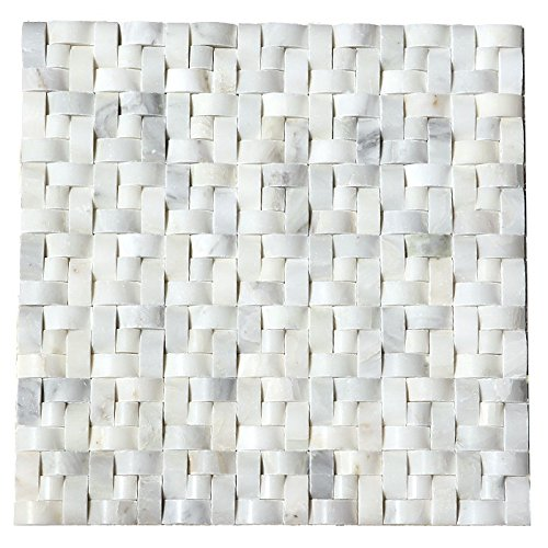 Wallandtile Carrara Interwoven Polished Mosaic Tile, 12''x12'', Set of 10