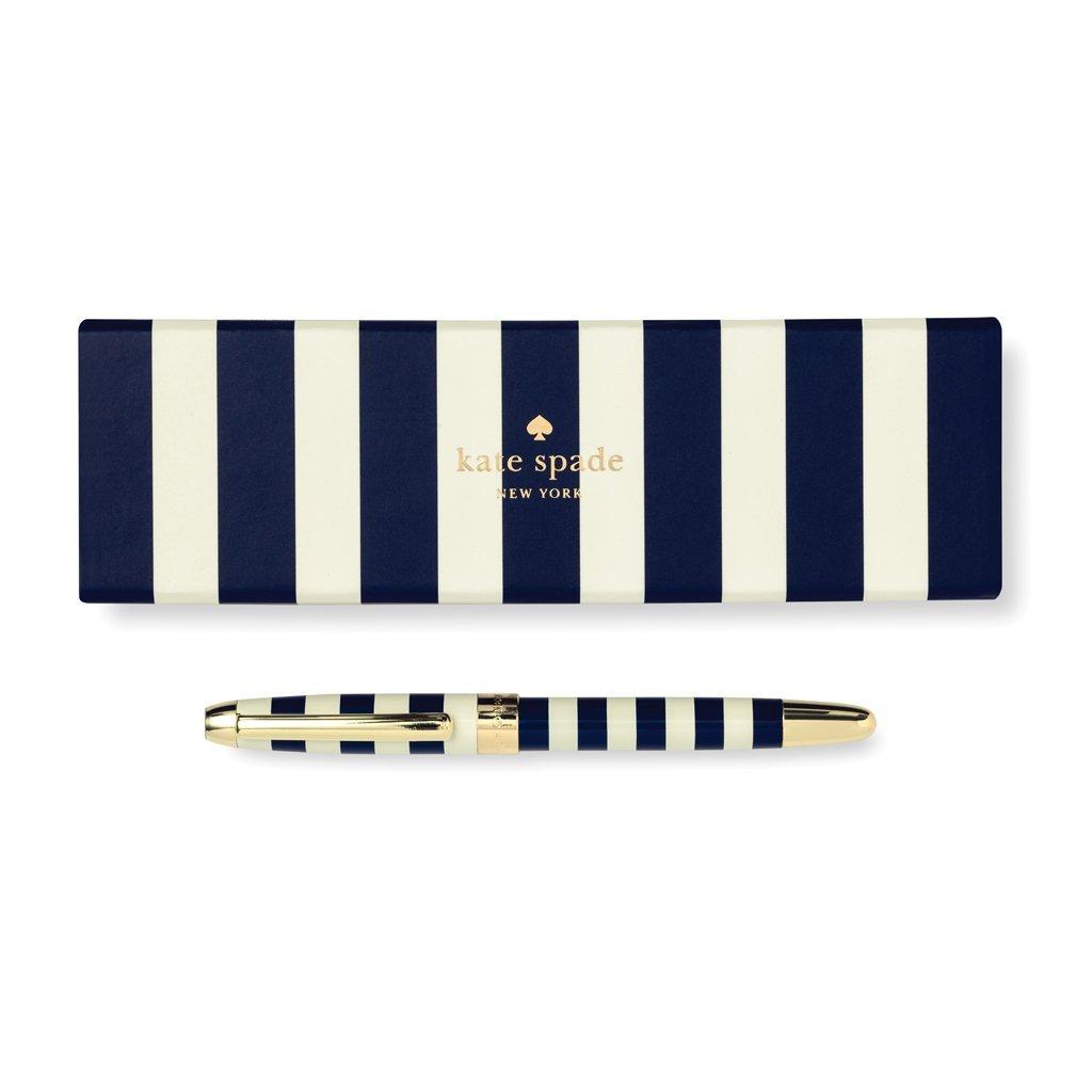 Kate Spade New York Black Ink Ballpoint Pen, Navy Stripe