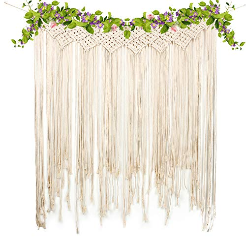 yazi Macrame Woven Wall Hanging Curtain Fringe Garland Banner Home Décor Handwoven - Boho Shabby Chic Bohemian Wall Decor - Apartment Dorm Living Room Bedroom Baby Nursery Art