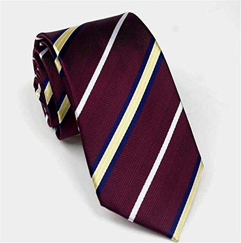 Allbebe Men's Classic Foral Dot Blue Red Jacquard Woven Silk Tie Necktie (One Size, dark red yellow-stripe) (Necktie Mens Red Thin)