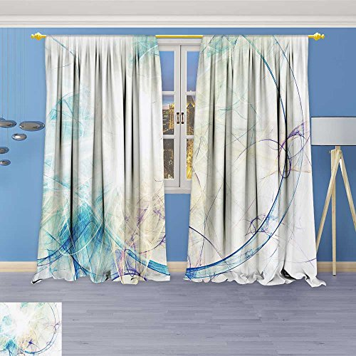 84l Panel (SOCOMIMI Antique Decor Collection, Blue Smoke Motion on White Bright Dynamic Background for Wallpaper,Living Room Bedroom Curtain 2 Panels Set, 96W x 84L inch)