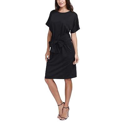 d6590877fc5 GongzhuMM Bowknot Robe de Soirée Tunique Élégant Chic Robe de Cocktail Noir  Robe de Plage Robe
