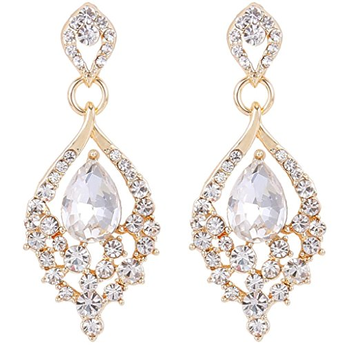 EleQueen Women's Gold-tone Austrian Crystal Teardrop Dangle Chandelier Sparking Earrings Clear - Austrian Crystal Chandelier Earrings Jewelry
