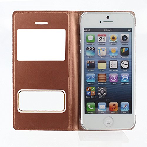 Flip-Case APPLE IPHONE 5S / IPHONE SE [Le Clap Touch Premium] [Golden] von MUZZANO + 3 Display-Schutzfolien UltraClear + STIFT und MICROFASERTUCH MUZZANO® GRATIS - Das ULTIMATIVE, ELEGANTE UND LANGLEB