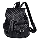 Fiswiss Women's Genuine Leather Backpack Handbags With Pockets (Black)
