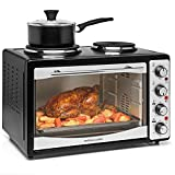 Andrew James Mini Oven with Hob | Electric Mini Cooker with Double Hot Plates & Grill | Adjustable Temperature Convection or Fan Assisted | 33L | 47 x 30.5 x 36.5cm | Black