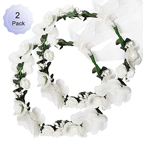 Flower Crown Headband Rattan Vine Wreath Garland Floral Wedding Bridal Hair Hoop Leaf Ribbon Party Decoration Headdress Headwear Christmas Handmade Headpiece Girls Kids Hair Accessories 2 Pack White