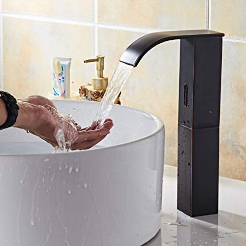 Electronic Automatic Sensor Touchless Bathroom Sink Faucet, Motion Activated Hands-Free Vessel Sink Tap, Easy Installation, Lead Free, Oil Rubbed Bronze Finished, by HHOOMMEE, Model (Touchless Electronic)
