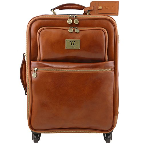 Tuscany Leather TL Voyager 4 Wheels vertical leather trolley Honey by Tuscany Leather
