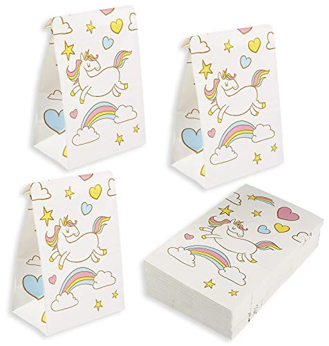 Princess Celebration Treat Bag - Blue Panda 36-Pack Unicorn Gift Bags - Unicorn Party Favor Bags - Rainbow Unicorn Party Supplies, Treat Bags for Kids, Goodie Bags for Birthday Party, White, 5.2 x 8.7 x 3.3 Inches