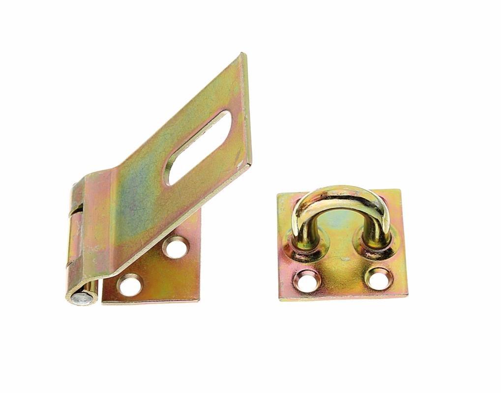 GAH-Alberts 348359 - Cierre de seguridad para candados (85 x 38 mm, pletina de 40 mm, grosor de 2 mm, metal galvanizado en amarillo)