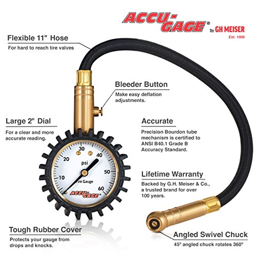 Accu-Gage RH60XA Professional Tire Pressure Gauge with Protective Rubber Guard, Angled Swivel Chuck, - http://coolthings.us