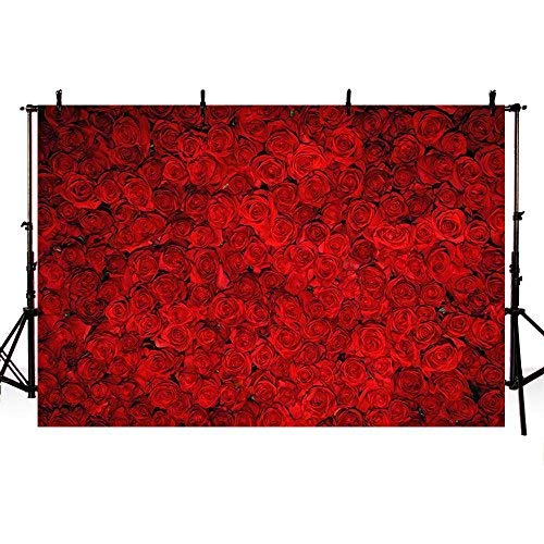 COMOPHOTO Red Rose Floral Wedding Photography Backdrop Valentine