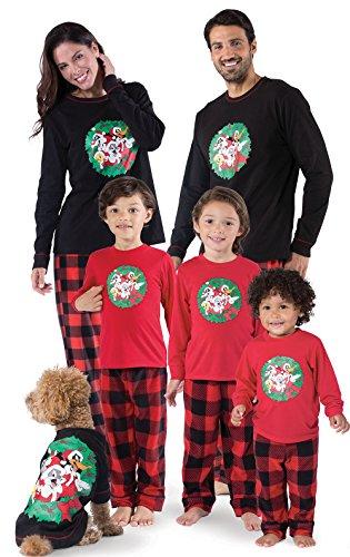 PajamaGram Looney Tunes Fleece Matching Family Pajamas, Red/Black, Men X-Large