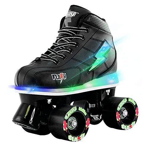 (Crazy Skates Flash Roller Skates for Boys | Light Up Skates with Ultra Bright Lights and Flashing Lightning Bolt | Black)