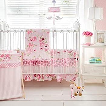Image of 3 Piece Pink White Green Floral Girls Baby Crib Bedding Set, Flower Themed Newborn Nursery Bed Set Infant Child Soft Rose Magenta Stripe Polka Dot Pattern Blanket Quilt, Polyester Cotton Home and Kitchen