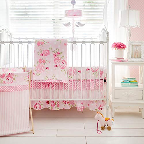 3 Piece Pink White Green Floral Girls Baby Crib Bedding Set, Flower Themed Newborn Nursery Bed Set Infant Child Soft Rose Magenta Stripe Polka Dot Pattern Blanket Quilt, Polyester Cotton