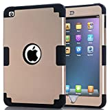 iPad Mini 4 Case,Lantier [Thin Slim][Shock Absorption][Slick Touch] Drop Protection Armor Hybrid Dual Layer Defender Protective Case Cover for Apple iPad Mini 4 Black+Golden