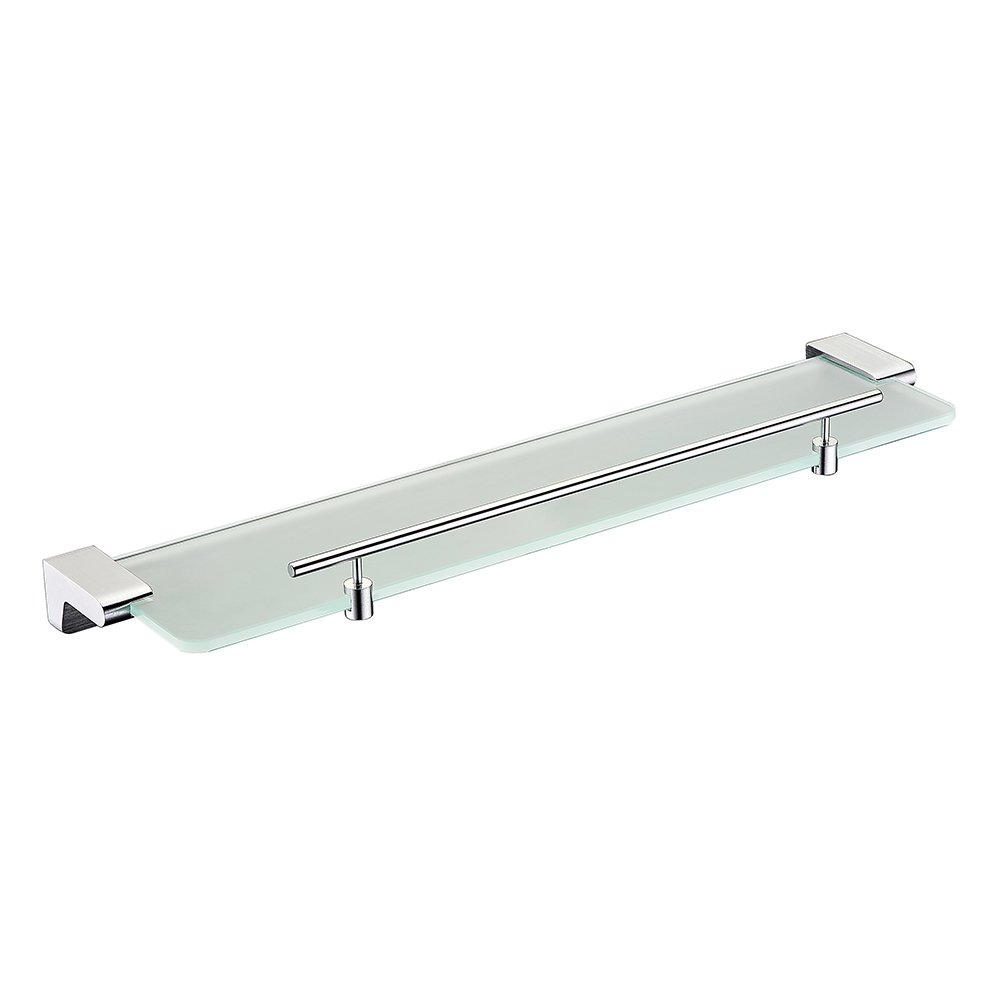 BOEN 19-Inch Bathroom Tempered Glass Shelf 8MM-Thick with Bar Wall Mount Rectangular,Sliver Aluminum,A1012