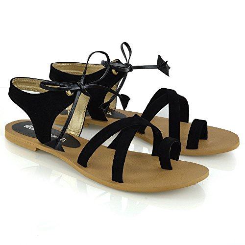 ESSEX GLAM Womens Ladies Tie Up Gladiator Flat Sandals Strappy Summer Toe Post Shoes Size Black hncHbK7