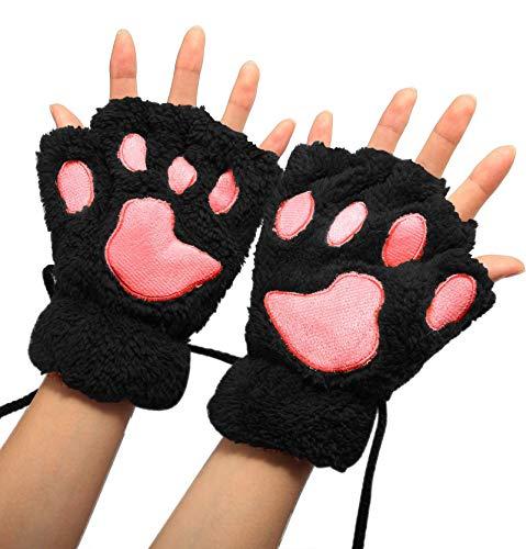 Winday Women Bear Plush Cat Paw Claw Glove Soft Winter Gloves OS Black -