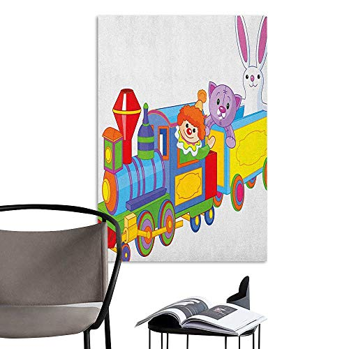 Wall Stickers Nursery Clown Cat and Bunny Sitting in The Train Kids Toys Cartoon Style Funny Cheerful Multicolor Living Room Wall W32 x H48 -