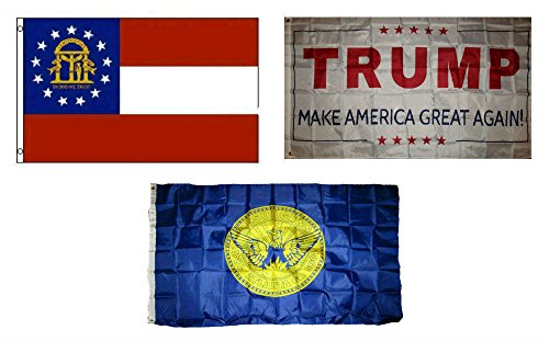 ALBATROS 3 ft x 5 ft Trump White with State of Georgia with City of Atlanta Set Flag for Home and Parades, Official Party, All Weather Indoors Outdoors -