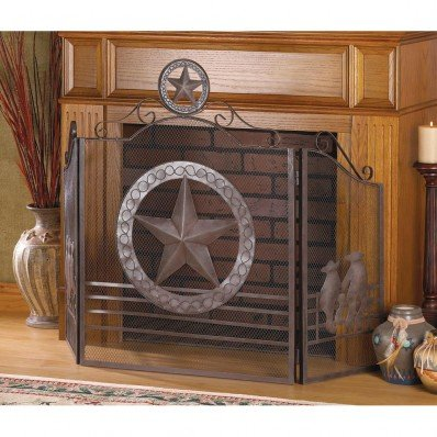 Fireplace Lone Star FIRE Place Screen Texas Iron Rustic